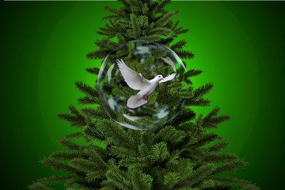 grün Tannenbaum Seifenblase Friedenstaube